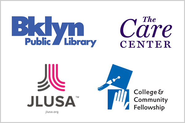 Brooklyn Public Library logo, The Care Center logo, JLUSA logo, and College & Community Fellowship logo.