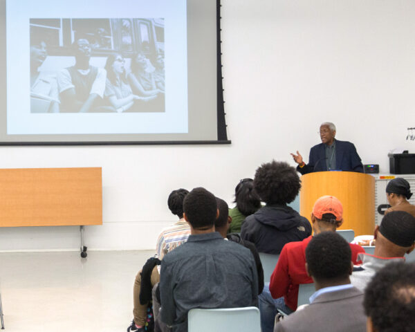 Dr. Robert Fullilove lecturing at Brooklyn Public Library.